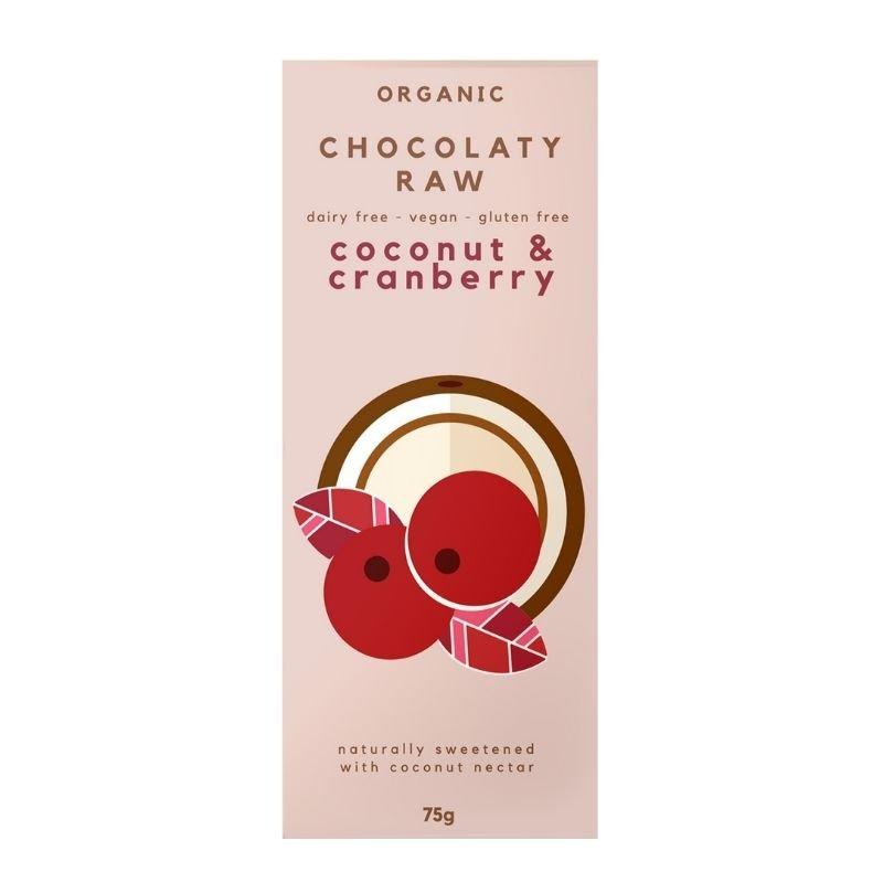 CHOCOLATY RAW ORGANIC CHOCOLATE COCONUT CRANBERRY 75G (BOX OF 12)