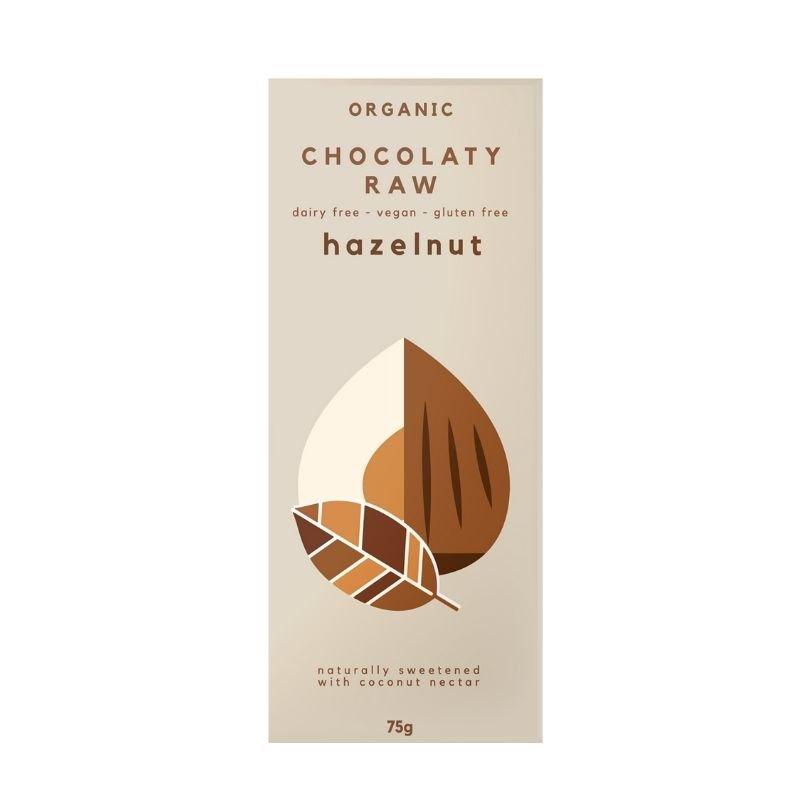 CHOCOLATY RAW ORGANIC CHOCOLATE HAZELNUT 75G (BOX OF 12)