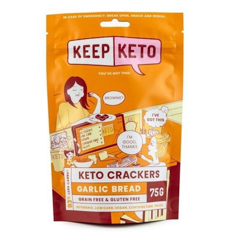 KEEP KETO CRACKERS GARLIC BREAD 75G (BOX OF 6)