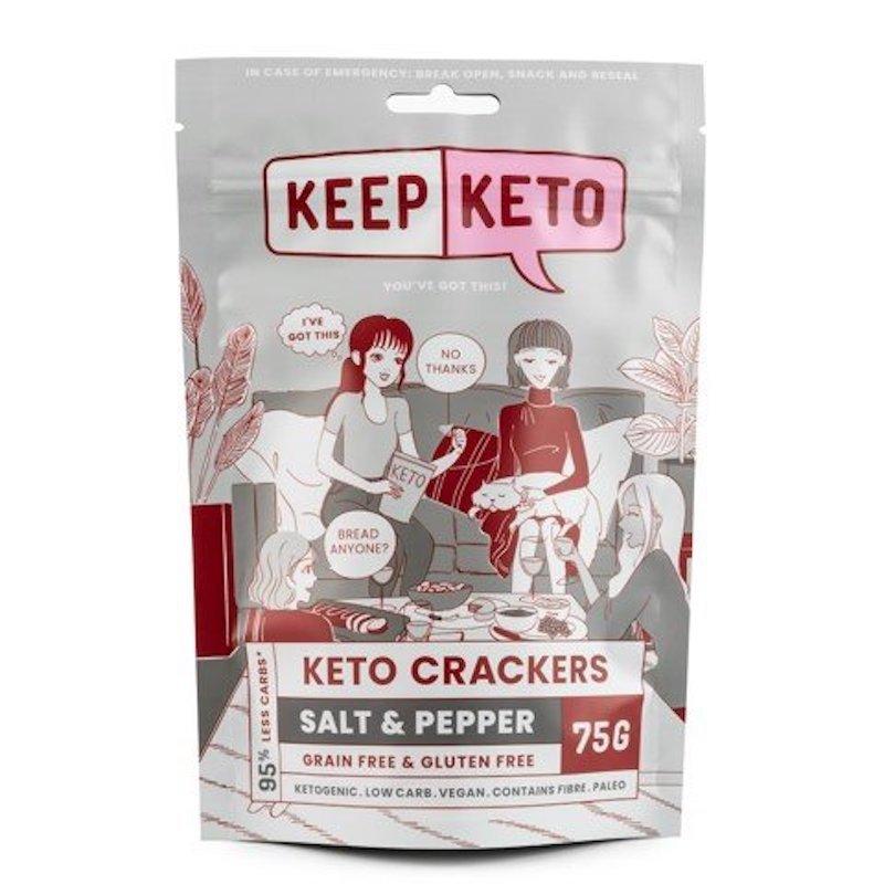 KEEP KETO CRACKERS SALT & PEPPER 75G (BOX OF 6)