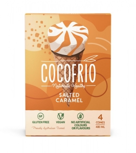 COCOFRIO CONES 4 PACK SALTED CARAMEL (FROZEN BOX OF 6)