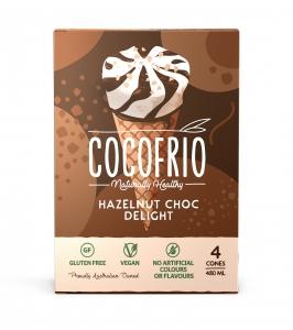 COCOFRIO CONES 4 PACK HAZLENUT CHOC DEL (FROZEN BOX OF 6)
