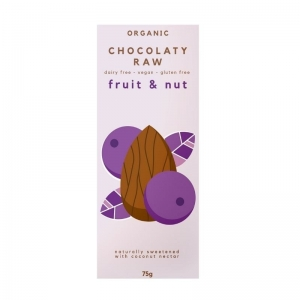 CHOCOLATY RAW ORGANIC CHOCOLATE FRUIT & NUT 75G (BOX OF 12)