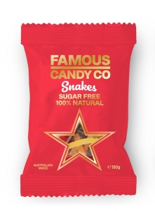 Famous Candy All Natural Snakes Sugar Free 180g (box of 12)