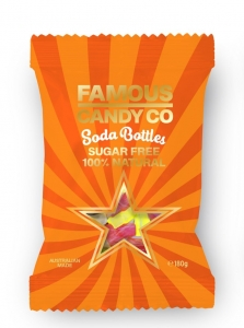 Famous Candy All Natural Soda Bottles Sugar Free  180g (box of 12)