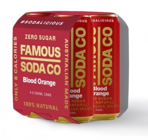 FAMOUS CANS BLOOD ORANGE 250ML 4 PACK (BOX OF 6)